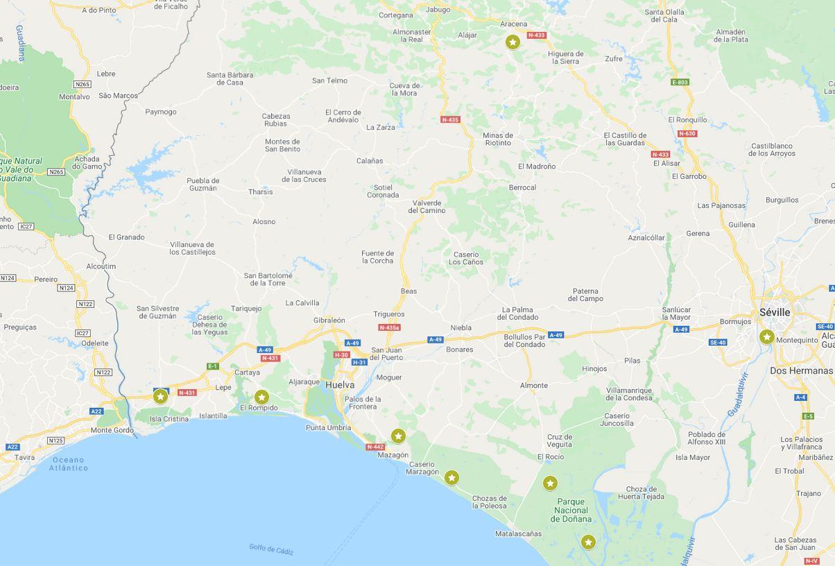 Carte google du séjour multi-activités Andalousie
